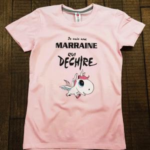 """T-shirt """"Je suis une marraine qui déchire"""""""